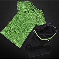 Green Women Sport Bersumpah Yoga Kaus Olahraga Celana 2 Pcs Suit Menjalankan Cepat Kering T-