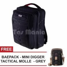 Tas Ransel Gress Emboss Tas Laptop Backpack - Hitam + FREE Tas Selempang Baepack Mini Digger Tas Pria Tas Kerja Tas Messenger Tas Slempang Tas Fashion Pria