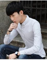 GREY Pria Kemeja Lengan Panjang NEW Business Casual Profesional Stripe Slim Mentops Formal Shirt-Intl