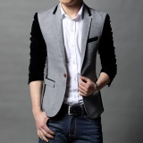 Harga Grey Baru Slim Fit Mens Casual Jacket Satu Tombol Patchwork Mantel M 5Xl Cotton Blazer Jaket Pria Klasik Mens Perapi Jaket Intl Seken