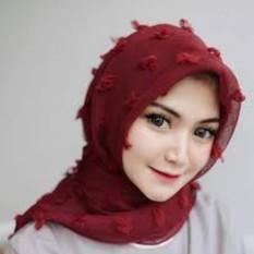 Griyaazza - Jilbab Saudia Rubia Rubi Ruby Polos Segi Empat - Merah
