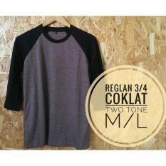 Jual Grosir Baju Murah Kaos Reglan Twotone Combed 30S Cokelat Branded Original