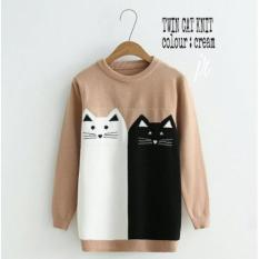 Grosir Baju Murah/Jual Sweater Murah/Rajut/TWIN CAT KNIT CREAM