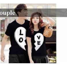 Grosir Couple Baju - Baju Couple Online  - Kaos Couple Black White Love HITAM