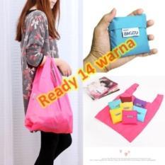 GROSIR Tas Belanja Lipat Warna-Warni Polos / Folding Shopping Bag