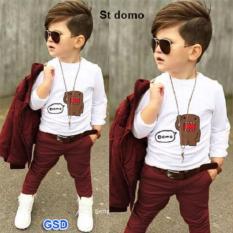GSD- Setelan Baju Anak Laki-laki - Set 3in1 New Maroon