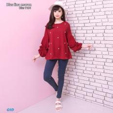 Promo Gsd Baju Atasan Baju Wanita Baju Korea Blouse Wanita Blus 1196 Maroon Gsd Terbaru