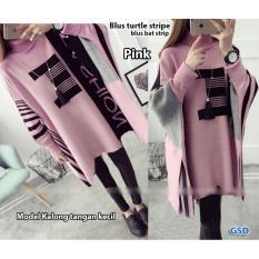 GSD - Baju Wanita / Baju Atasan / Blouse Wanita / Baju Korea / Blus Casual  Bat Stripe