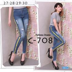 Review Toko Gsd Celana Panjang Celana Jegging Wanita Celana Casual Celana Jeans C708 List Kuning Online