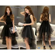 GSD - Dress Asimetris/Baju Pesta/Dress Pesta Lopes Hitam