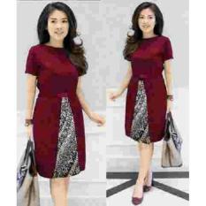 Jual Gsd Dress Batik Baju Wanita Long Dress Dress Pesta Dress Winni Maroon Murah