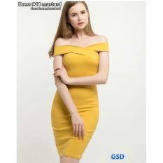 GSD -  Dress Pesta / Dress Bodycon / Baju Pesta / Baju Wanita / Long Dress /Dress Hanami Mustard