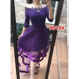 Penawaran Istimewa Gsd Dress Pesta Asimetris Dress Brukat Import 9010 Ungu Terbaru