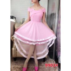 GSD - Dress Pesta asimetris/Dress brukat import/ 9903 PINK
