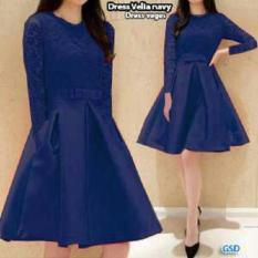 GSD - Baju Pesta /Dress Casual /Baju Wanita /Dress Brukat Veges Navy