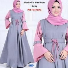 GSD - Baju Gamis / Baju Busui / Baju Wanita / Dress Muslim / Gamis Syari Busui - Maxi Moza Grey