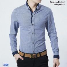 Gsd Baju Atasan Pria Kemeja Kerja Baju Cowok Kemeja Pria Terbaru Kmj P018 Blue Di Dki Jakarta
