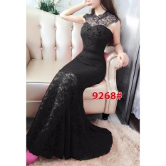 Penawaran Istimewa Gsd Long Dress Brukat Party 9268 Black Terbaru