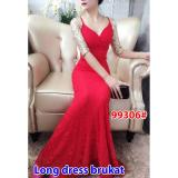 Toko Gsd Long Dress Brukat Party 99306 Red Online Terpercaya