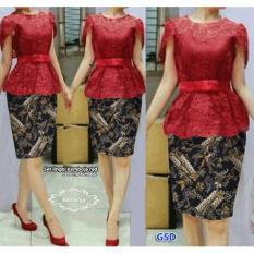 GSD- Baju Wanita / Rok Batik / Kebaya Modern / Baju Kebaya /Set Xingli Kamboja Red