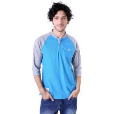 Miliki Segera Gshop Adg 0599 Poloshirt Lengan Panjang Pria Cotton Pique Simple Dan Elegan Biru Kombinasi