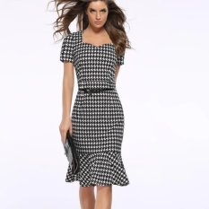 Jaket Baru Slim Houndstooth Pensil Dress Paket Hip Fishtail Gaun Mengirim Belt Plus Size-Intl-Intl