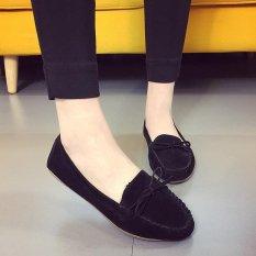 Cetak Brodir untuk Wanita Slip Di Flat Sepatu Kasual Pantofel Ibu Moccasins Bow Softsole Toe Ranjang-Hitam (EU: 35) Intl-Intl