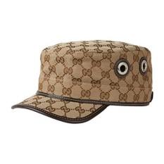 Asli Gucci GG Kanvas Militer Hat, BEIGE/ebony 200037 (L (Besar))-Intl