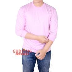 Jual Cepat Gudang Fashion Atasan Kasual Kaos Polos Panjang Pria Pink Baby
