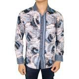 Harga Gudang Fashion Baju Batik Casual Slim Fit Panjang Keren Putih Biru Online Banten