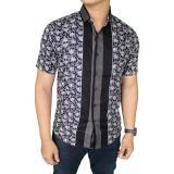 Harga Gudang Fashion Baju Batik Lengan Pendek Kerja Pria Hitam Murah