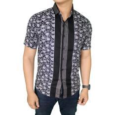 Jual Gudang Fashion Baju Batik Lengan Pendek Kerja Pria Hitam Grosir