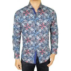 Review Gudang Fashion Baju Batik Pria Lengan Panjang Biru Banten