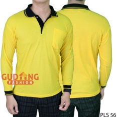 Beli Gudang Fashion Baju Kaos Polo Panjang Pria Kuning Kenari Kerah Hitam Murah
