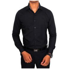 Harga Gudang Fashion Baju Kemeja Kerja Pria Keren Hitam Terbaik