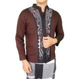Obral Gudang Fashion Baju Koko Bordir Tengah Coklat Murah