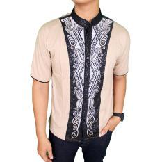 Gudang Fashion - Baju Koko Keren Lengan Pendek - Krem