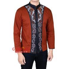 Spesifikasi Gudang Fashion Baju Koko Lengan Panjang Cowok Coklat Muda Gudang Fashion Terbaru