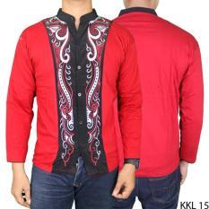 Gudang Fashion - Baju Koko Lengan Panjang Elegan - Merah