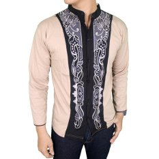 Gudang Fashion - Baju Koko Lengan Panjang Motif Bordir - Cream