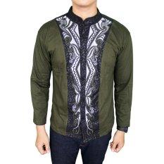 Gudang Fashion - Baju Koko Lengan Panjang Modern - Hijau Lumut