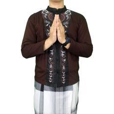 Gudang Fashion - Baju Koko Lengan Panjang Motif Bordir - Coklat Tua