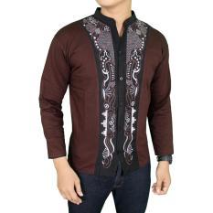 Gudang Fashion - Baju Koko Lengan Panjang Pria - Coklat Tua