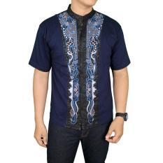 Gudang Fashion - Baju Koko Lengan Pendek Modern - Biru Dongker