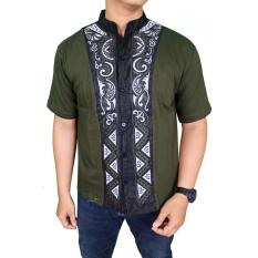 Diskon Gudang Fashion Baju Koko Modern Lengan Pendek Hijau Indonesia