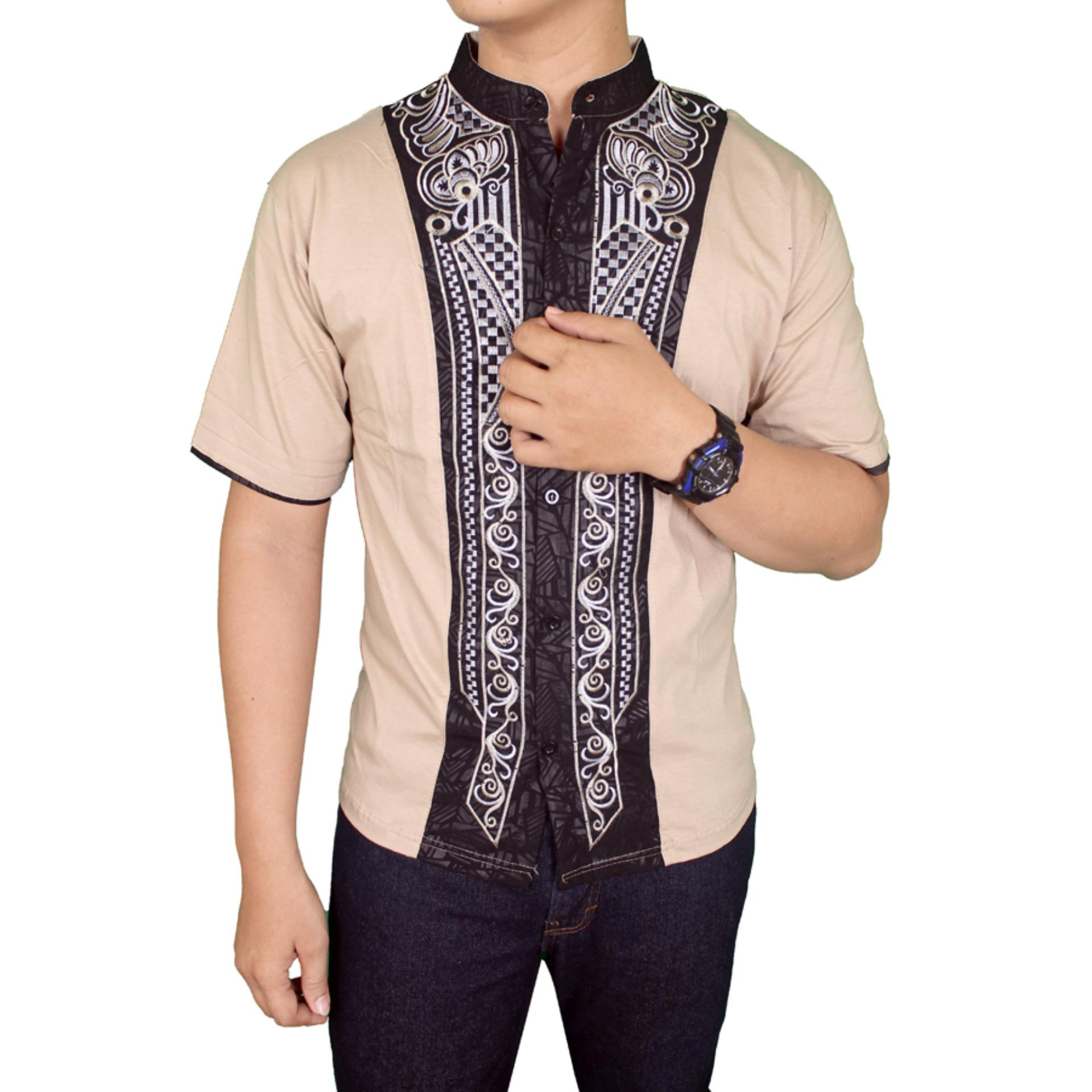 Gudang Fashion Baju Koko Pria Lengan Pendek Krem