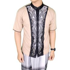 Toko Gudang Fashion Baju Lebaran Muslimin Pria Bordir Lengan Pendek Cream Dekat Sini