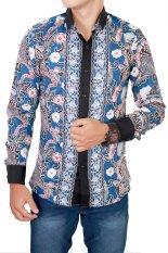 Beli Gudang Fashion Batik Modern Pria Lengan Panjang Biru Gudang Fashion Murah