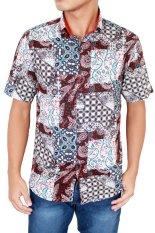 Gudang Fashion - Batik Pendek Pria Slim Fit - Coklat