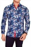 Spesifikasi Gudang Fashion Batik Slim Fit Pendek Biru Tua Murah